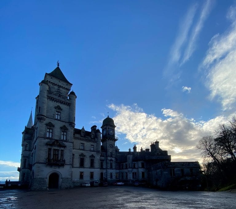 french chateaux castle with blue skies
