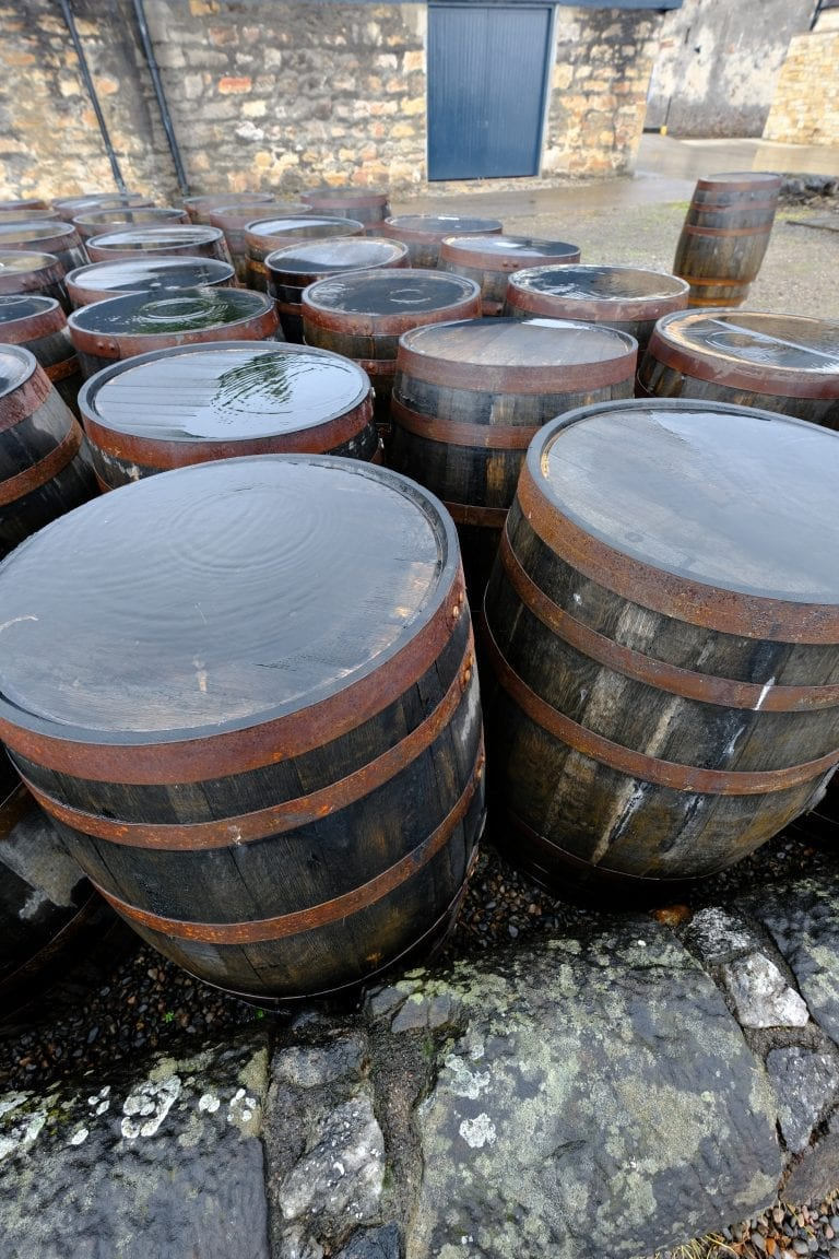 group of whisky casks