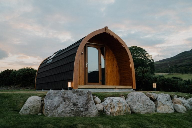 frontal view of glamping pod in Brora