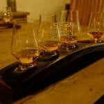 4 drams of old pulteney whisky presented together