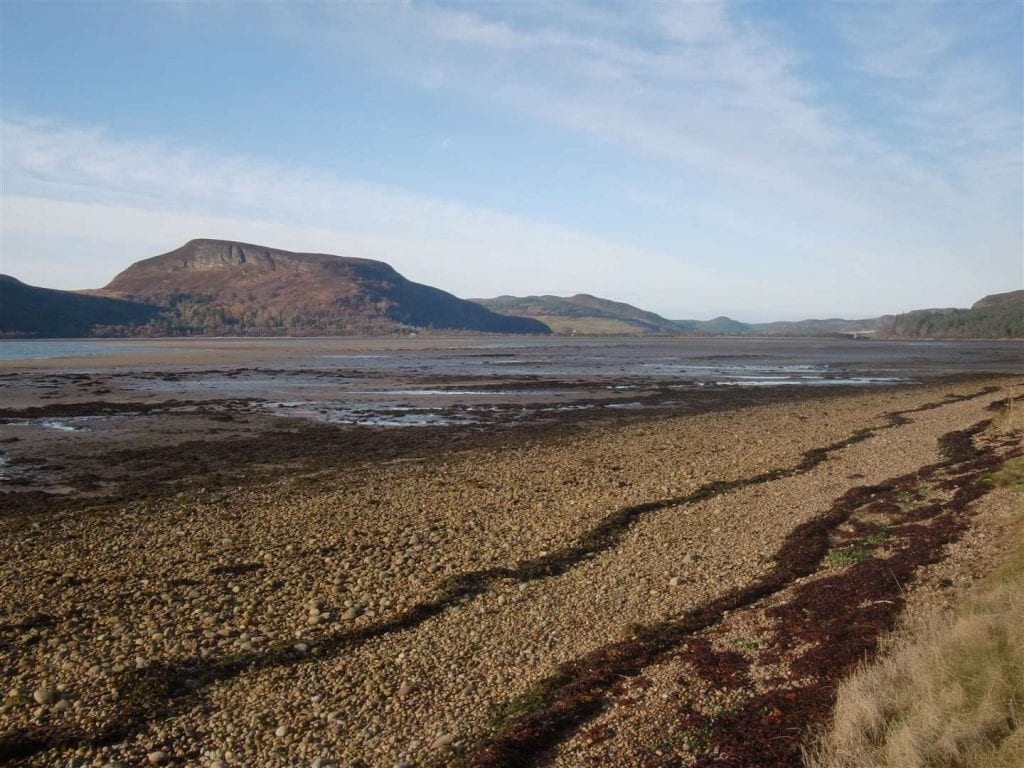 Loch Fleet National Nature Reserve with mountainous background