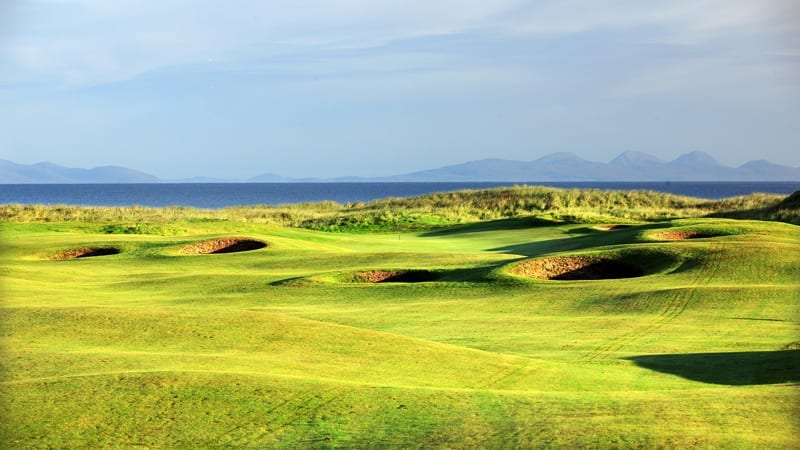Golf course looking towards green with dornoch firth in the background