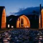 Glamping Pods after dark