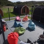 NC500Pods Decking Area with Bean Bags