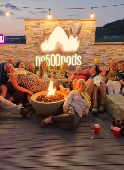 NC500Pods Guests around the fire pit