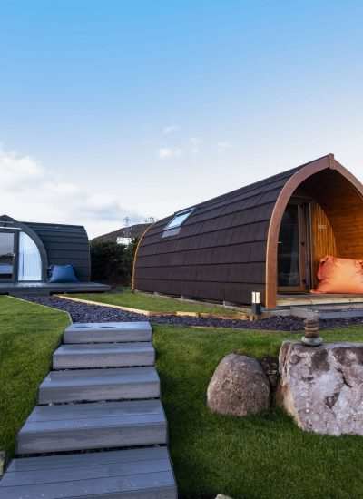 view of two different types of glamping pods in Brora