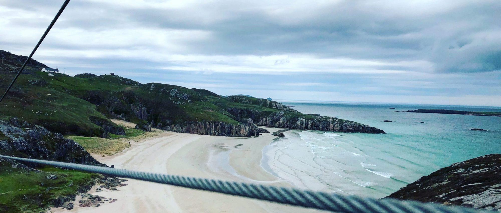Zipline in Durness overlooking beach