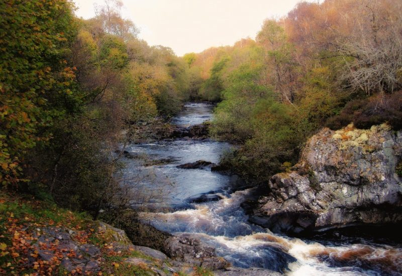 autumnal river with small falls