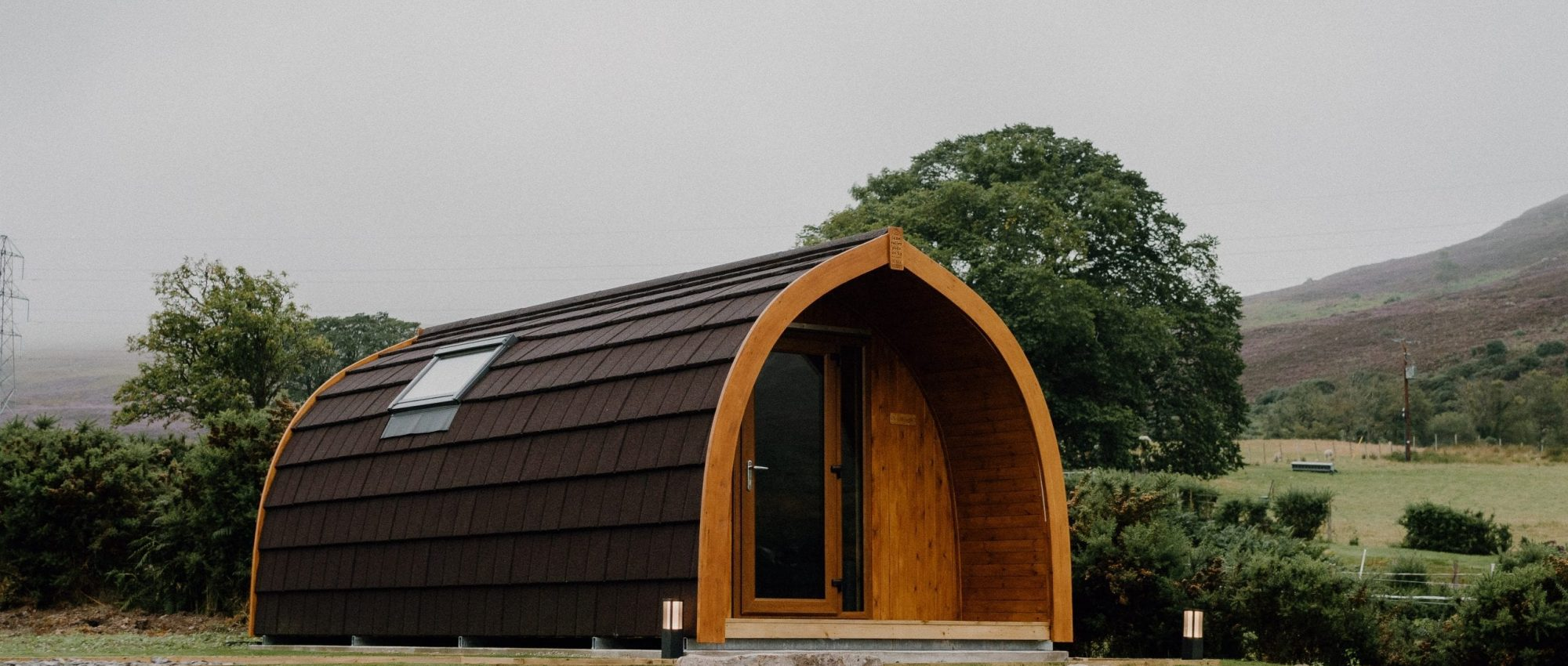 Glamping pod in Brora on overcast day